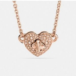 Coach Pave Twinkling Heart Rose Gold Necklace NWT